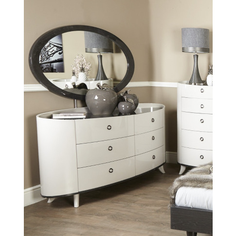 Evelyn Walnut 6 Drawer Wooden Cabinet