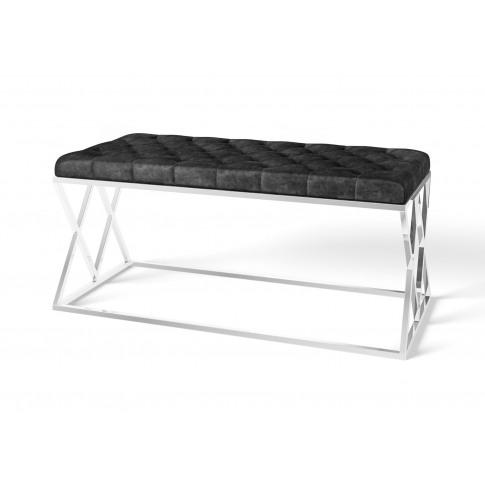 Fairmont Adele Black Velvet Upholstered Bench