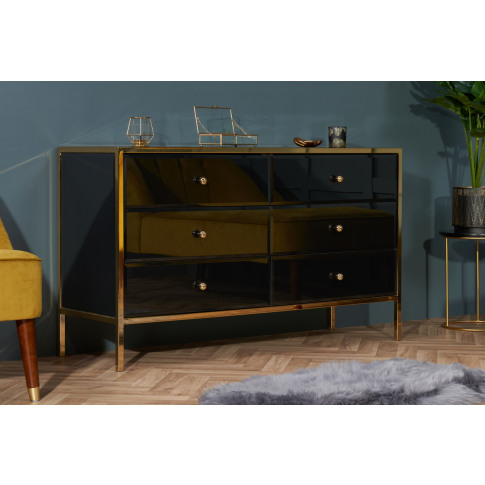 Fenwick Black And Gold Glass 6 Drawer Chest