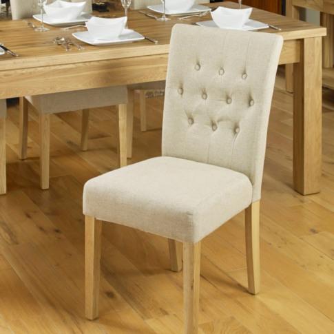 Mobel Oak Flare Back Biscuit Upholstered Dining Chair