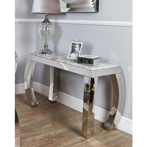 Floris Grey Marble & Chrome Console Table