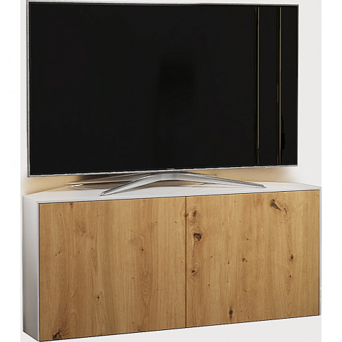 Frank Olsen 110cm White And Oak High Gloss Led Corne...