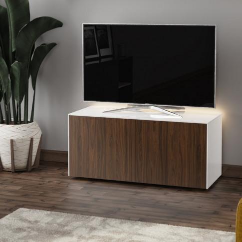 Frank Olsen 110cm White And Walnut High Gloss Led Tv...