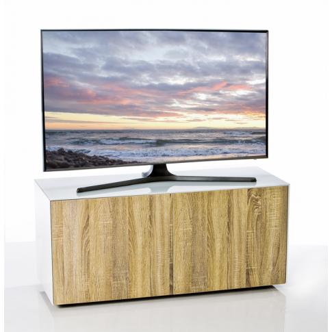 Frank Olsen High Gloss 110 White Tv Cabinet With Oak...