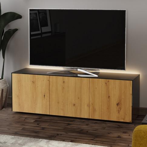 Frank Olsen Intel 150 Black And Oak Tv Cabinet