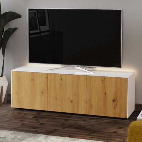 Frank Olsen Intel 150 White And Oak Tv Cabinet