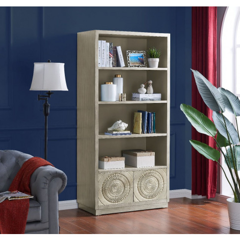 Frenso Silver Wooden 2 Drawer Bookcase