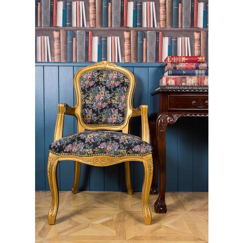 French Louis Antique Floral Armchair