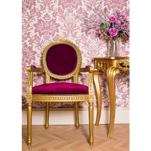 French Louis Red Velvet Armchair