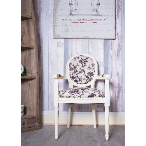 French Louis Black Bird Floral Armchair