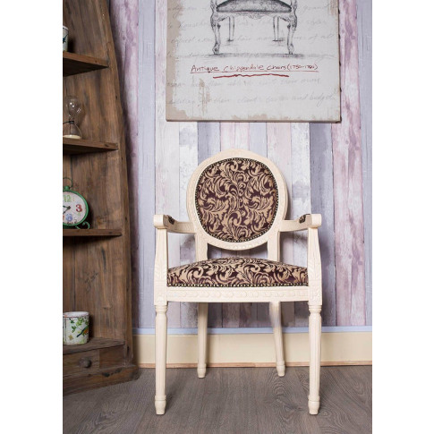 French Louis Purple Floral Fabric Armchair