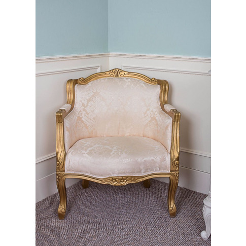 French Louis Gold Damask Fabric Armchair