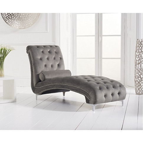 New England Grey Velvet Chaise Longue