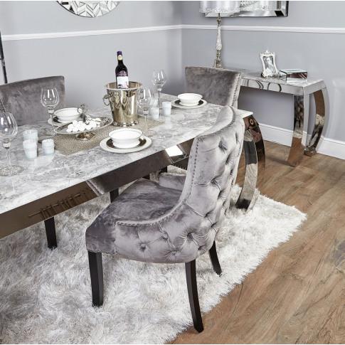 Grey Velvet Tufted Back Dining Chair