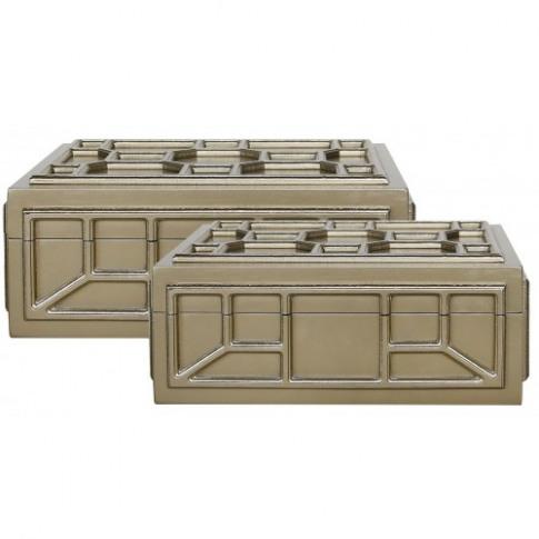 Rita Gold Geometric Storage Boxes Set Of 2