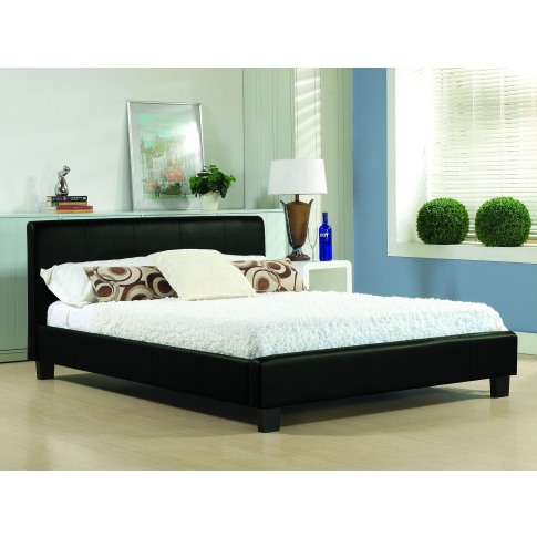 Hamburg 4ft6 Double Black Real Leather Bed