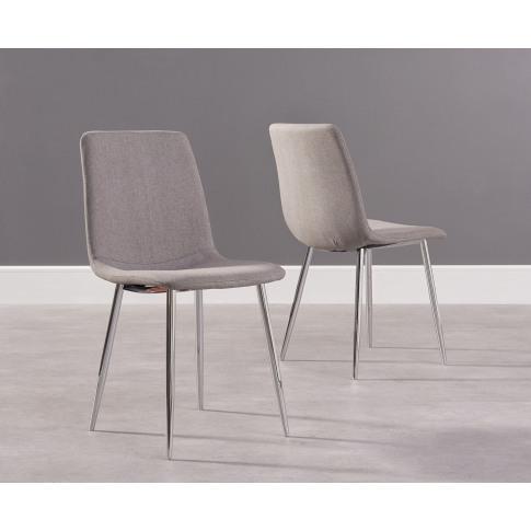 Hatfield Grey Fabric Chrome Dining Chair