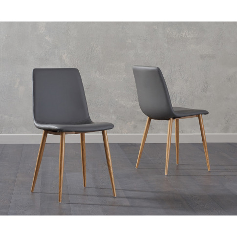 Hatfield Grey Leather Wooden Leg Dining Chair