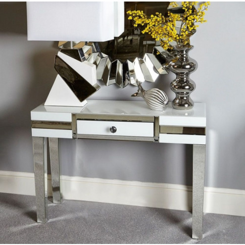 Hatton 1 Drawer White Mirrored Console Table