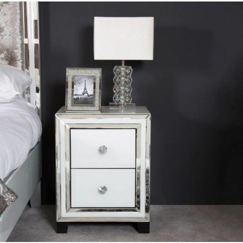 Hatton 2 Drawer White Mirrored Bedside Cabinet