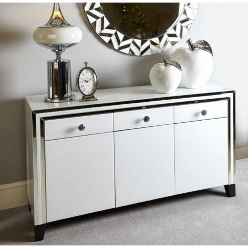 Hatton 3 Drawer 3 Door White Mirrored Cabinet