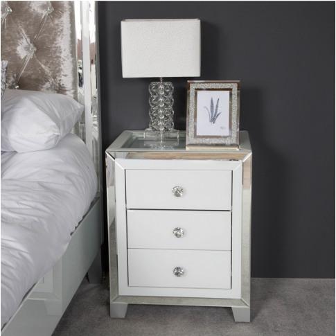 Hatton 3 Drawer White Mirrored Display Bedside Cabinet