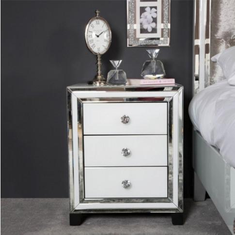 Hatton 3 Drawer White Mirrored Bedside Cabinet