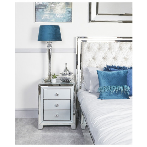 Hatton Grey Glass  3 Drawer Bedside Cabinet