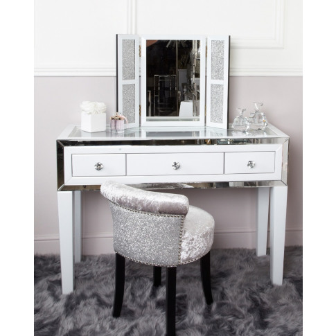 Hatton Grey Glass 3 Drawer Dressing Table