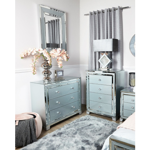 Hatton Grey Glass 4 Drawer Chest