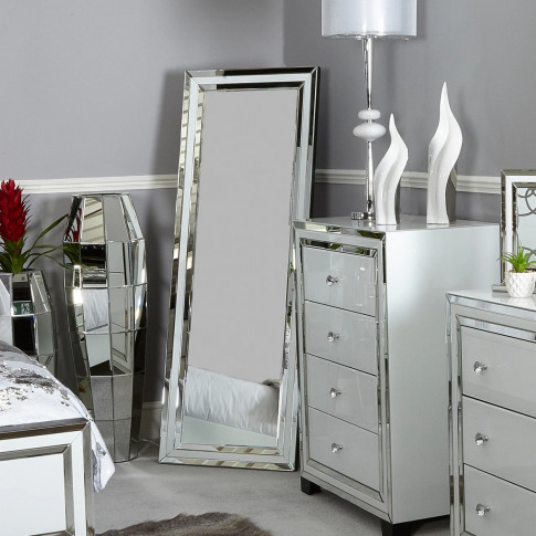 Hatton White Glass Floor Mirror