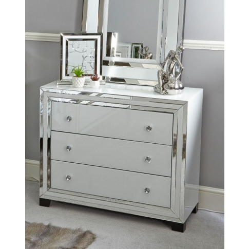 Hatton White Mirrored 3 Drawer Chest