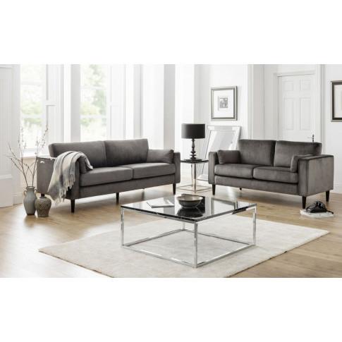 Julian Bowen Hayward Grey Velvet 3 Seater Sofa