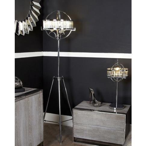 Hollywood Chrome And Crystal Floor Lamp With Chrome Drum Shade