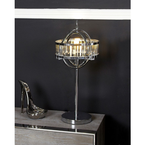 Hollywood Chrome Table Lamp With Clear Shade