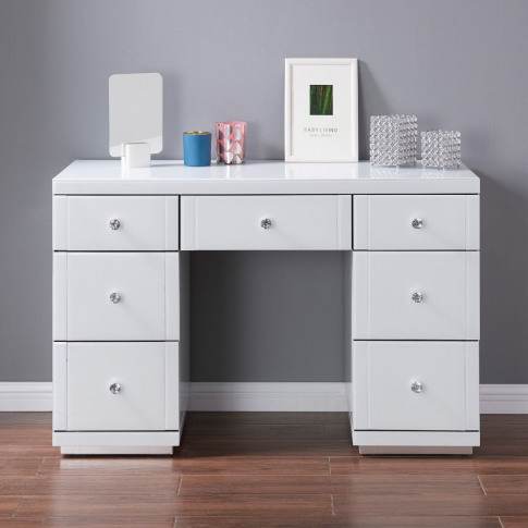 Hollywood White High Gloss 7 Drawer Dressing Table