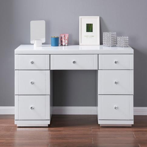 Hollywood White High Gloss 7 Drawer Dressing Table