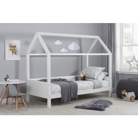 Home White Wooden Kids Bed