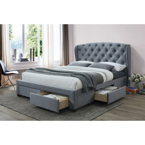 Hope Grey Fabric 4ft6 Double Storage Bed