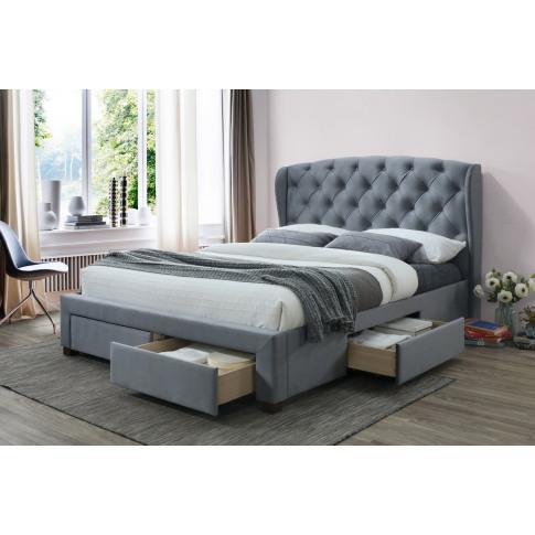 Hope Grey Fabric 5ft Kingsize Storage Bed