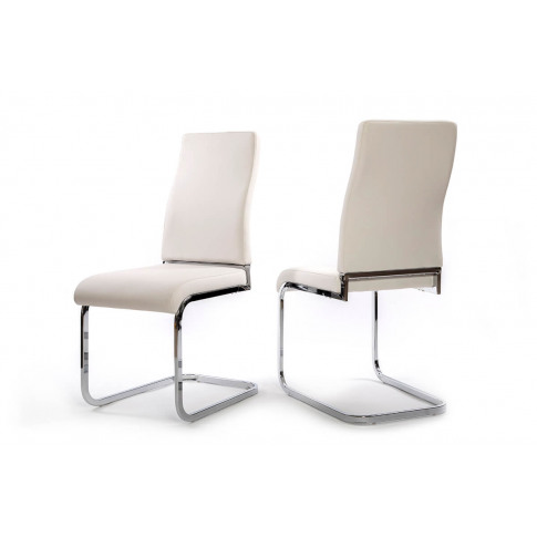 Fairmont Primo White Leather Dining Chairs Pair