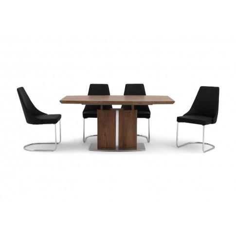 Fairmont Thiago Ext Walnut Dining Table + 4 Mya Blac...