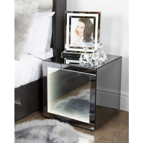 Infiniti Smoke Mirror 50cm Cube End Table
