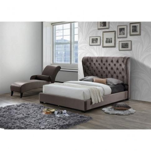 Sareer Infinity Grey 4ft6 Double Fabric Bed