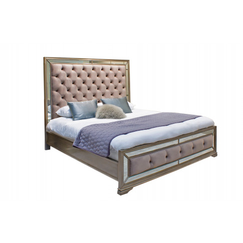 Jessica Taupe Mirrored 6ft Super Kingsize Bed