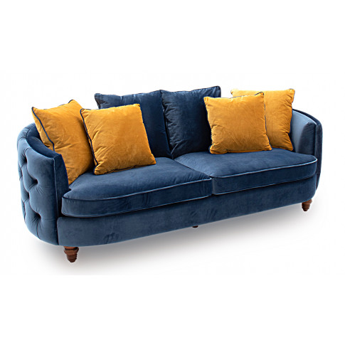 Jools 3 Seater Blue Velvet Sofa