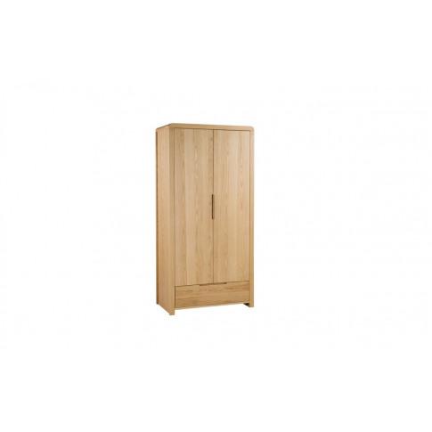 Julian Bowen Curve Solid Oak 2 Door 1 Drawer Wardrobe