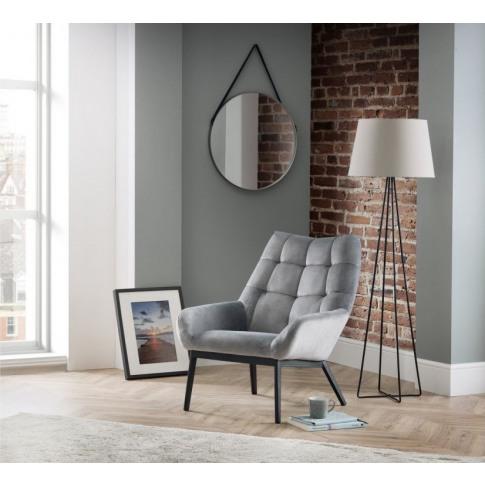 Julian Bowen Lucerne Grey Velvet Accent Chair
