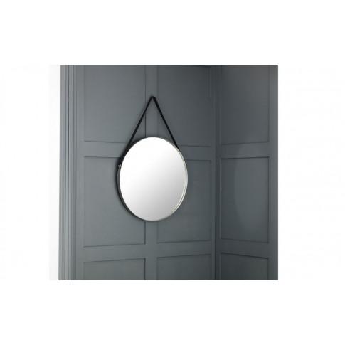 Julian Bowen Opera Round Pewter Mirror With Black Strap