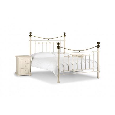 Julian Bowen Victoria 4ft6 Double Stone White Metal Bed